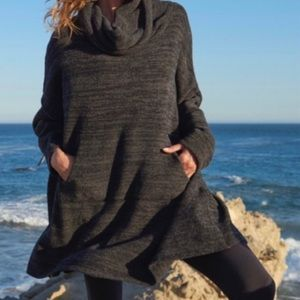 Barefoot Dreams gray CozyChic Funnel neck sweater